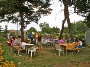 residents socializing at community garden