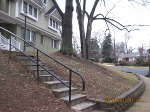 """""""Before"""" photo of a StormwaterWise conservation landscape on a slope."""