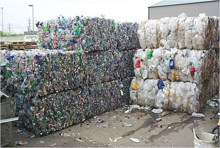 An example of PET plastic (#1) and HDPE plastic (#2) commodity bales, ready for market.