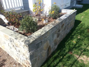 Stone-faced planter box with the appropriate plantings and ponding depth.