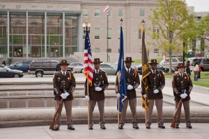 Deputies present the colors at a wreath laying ceremony at the National Law Enforcement memorial in Washington DC