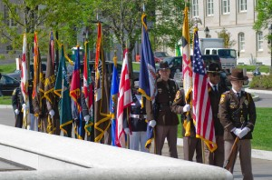Deputies prepare to present the colors. Pictured with flags
