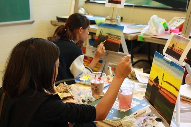 Teens painting
