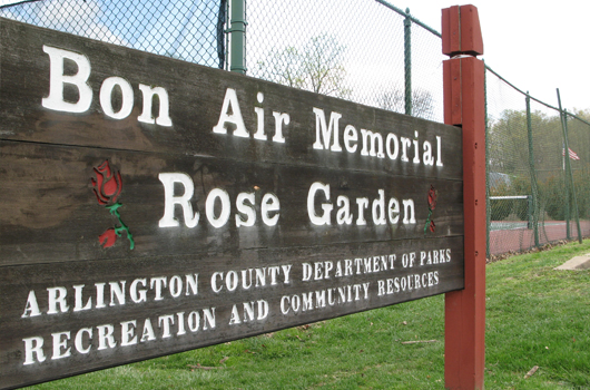 bonair park arlington county memorial rose garden sign