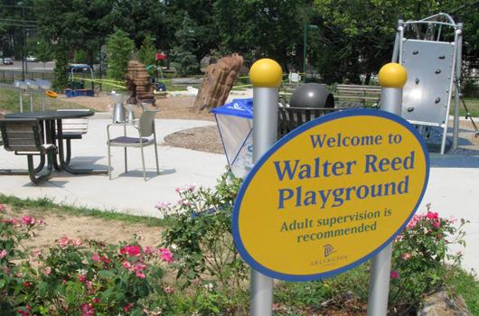 walter reed park arlington county sign