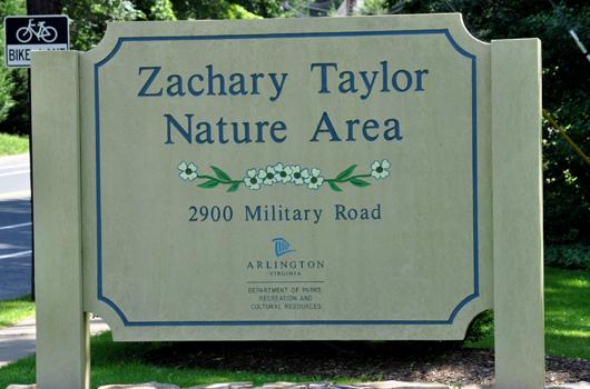 zachary taylor park arlington county sign