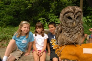 children sitting with owl