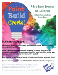 Paint, Build, Create! flyer