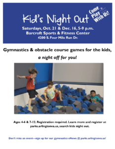 flyer with event information and photo of children playing in foam pit