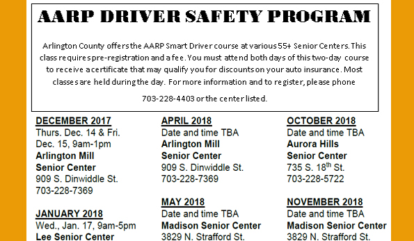 Driver Safety course flyer