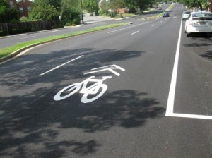 A sharrow pavement marking.