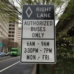 Rush hour bus lane signage