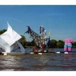 Justine Light MYSTERIOUSLY CURIOUS GUERRILLA FLOTILLA October 1999 Potomac River  mixed media