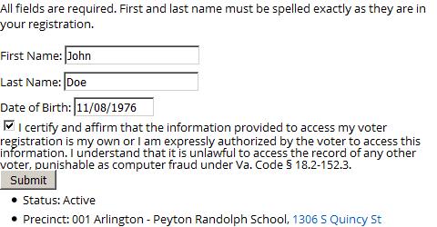 Voter registration search screenshot