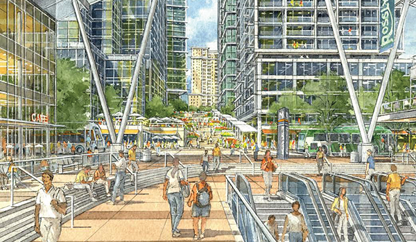 artistic rendering of rosslyn for the sector plan