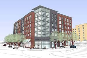 Drawing of a mixed use building that will bring affordable housing to Columbia Pike