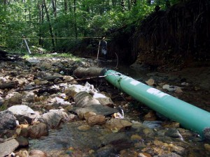Donaldson Run Tributary A before stream restoration.