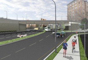 Rendering of westbound Arlington Boulevard at North Courthouse Road (looking west).