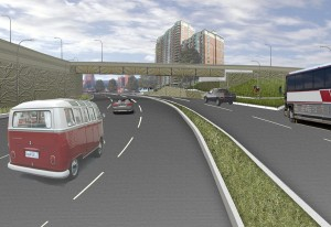 Rendering of westbound Arlington Boulevard at North Courthouse Road (looking southwest).