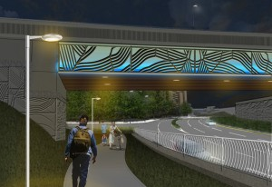Rendering of westbound Arlington Boulevard at night (looking northeast).