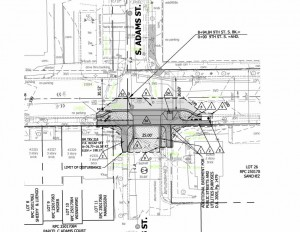 Bike Boulevard planned improvements for South Adams Street at Ninth Street South