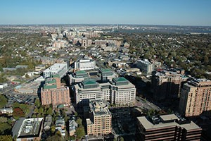 Aerial photo of the Rosslyn Ballston corridor