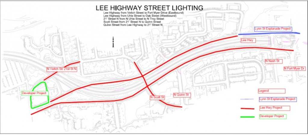 Lee Highway Street Lights Project Image Of Project Map From N Fort Myer Dr To N Veitch St