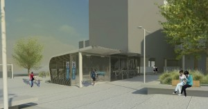 Rendering of 90% Design Plan - Bike & Ride parking structure