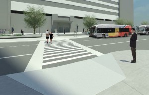 Rendering of 90% Design Plan - Stuart Street mid-block crossing