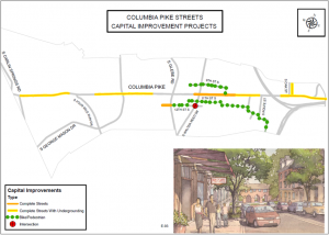 Map of Columbia Pike capital improvement projects