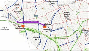 Map of Washington Boulevard corridor location from Westover to East Falls Church