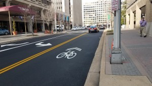 New paving and striping on South Bell Street