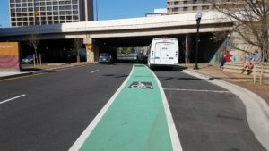 Painted bicycle lane on 18th Street