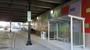 One of the new bus bays on 18th Street under the Route 1 bridge