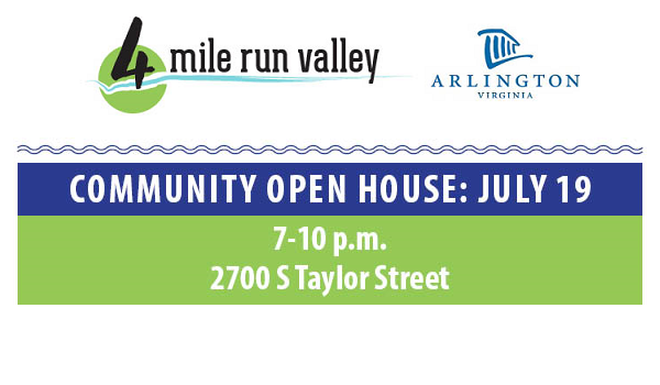 flyer image for four mile run valley july 19 community open house