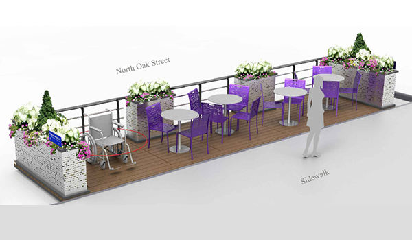 prototype design for a parklet, a publicly accessible deck platform that serves as an extension of the sidewalk