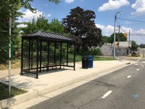Improved bus stop area at Lee Highway and North Cleveland Street