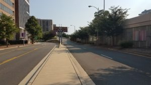 Ramp (on right) leading to elevated Clark Street, south of 12th Street South