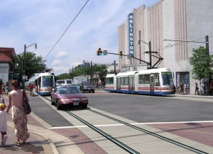 An artists vision of the planned Columbia Pike streetcar.