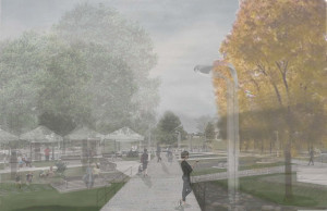 artist's rendering oftree-shaded Nauck Town Square