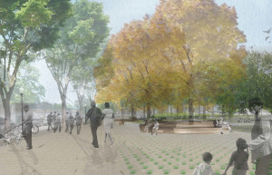 Rendering of people seated in Nauck Town Square