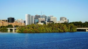 Arlington's Rosslyn area skyline, featuring 1812 N. Moore St., pointed roof at center, the region's tallest building.