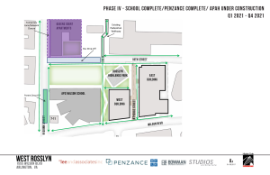 School and Penzance complete, APAH under construction throughout 2021.