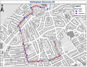 Nottingham 5k Race Route