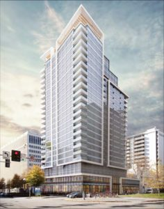 rendering of Crystal City apartment tower.