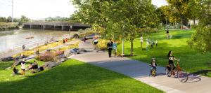 Visitors strolling through Short Bridge Park.