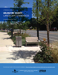 cover of landscape standards document depicting several sidewalk elements including a bench, receptacle and landscaping