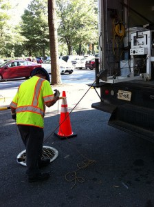 Water, Sewer and Streets Bureau crew perform a TV inspection for sanitary sewer maintenance.