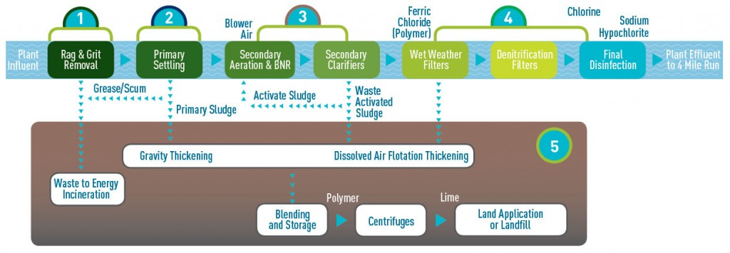 Wastewater Treatment Plant Processes infographic.
