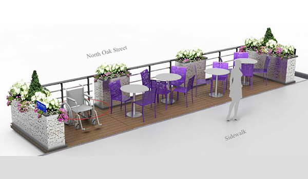 computer generated prototype of rosslyn streetscape parklet
